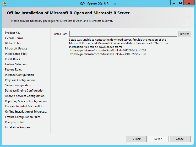 SQL Server 2016 R Services: offline installation and adding
